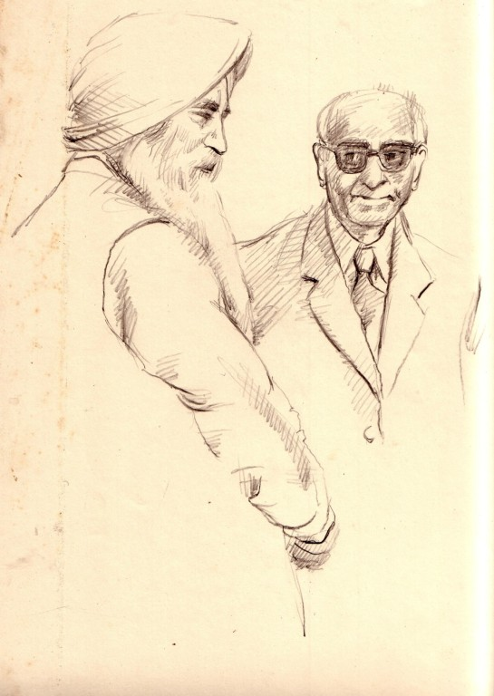 Charan Singh, the guru at whose behest the eye camp takes place, with surgeon