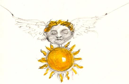 "Pendant design, ""Morpheus II""; Pencil, watercolour"