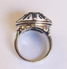 Ring: silver, peridot, tourmaline crystals