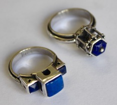 Two architectural rings: silver, lapis lazuli