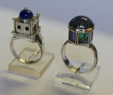 Two Architectural Rings: silver, lapis lazuli, paua shell