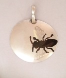 Black Bee Pendant: Silver with mixed metal inlays